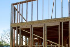 House under construction framing beam stock image