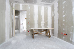 Construction. House under construction, interior view Royalty Free Stock Photo