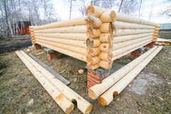 House under construction from pine logs Stock Photo