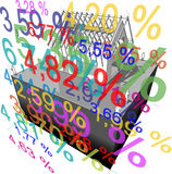 "House under construction with roof framework + ""interest rate percentage"" diagram Stock Photos"