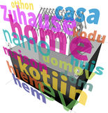 """House under construction roof framework + """"home"""" in many languages diagram Stock Photo"""