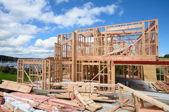 House under construction. A timber frame house under construction Royalty Free Stock Photography