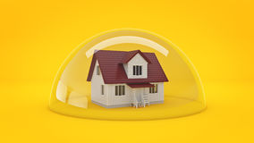 House under a Glass Shield, Protection Concept. Stock Photography