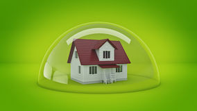 House under a Glass Shield, Protection Concept. Royalty Free Stock Photo