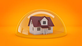 House under a Glass Shield, Protection Concept. Royalty Free Stock Images