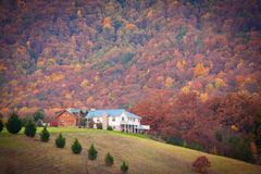 House under great smoky mountain. Wood house with grass roll under great smoky mountain Stock Image