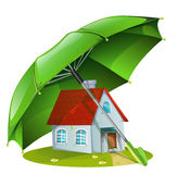 House under a green umbrella Stock Photography