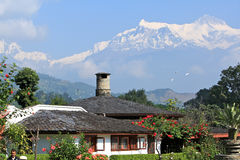 House under Himalayan mountain royalty free stock image