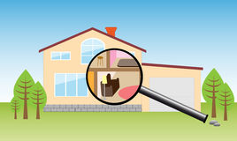 House under magnifying Stock Photography