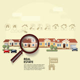 House under magnifying glass. Vector illustration of real estate. Concept with magnifying glass, icons and your dream house. Suitable for posters, flyers or Stock Images