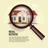 House under magnifying glass. Vector illustration of real estate. Concept with magnifying glass and your dream house. Suitable for posters, flyers or Royalty Free Stock Photography