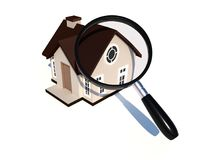 House under magnifying glass on white background. Real estate concept. Real estate concept for searching house Royalty Free Stock Photo