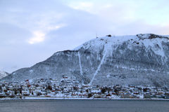 House under the mountain in Tromso Royalty Free Stock Photos