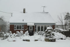 House under snow in Brooklyn after massive Winter Storm Royalty Free Stock Images