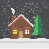House under snow flat icon Royalty Free Stock Photography