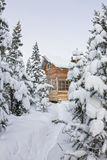 House under snow in winter wood chalet among spruce trees in the Royalty Free Stock Images