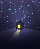 House under a starry sky. Vector illustration Stock Photography