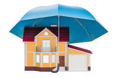 House under umbrella. Home security and protection concept, 3D r Stock Photos