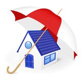 House under an umbrella. Vector illustration Stock Photography