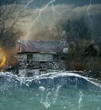 House under water illustration. Rustic wooden house under water in storm with lightening and fire stock image
