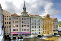 House, under which the river flows. HDR Royalty Free Stock Image