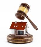 House under a wooden gavel. 3D illustration Stock Image