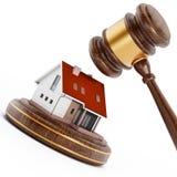 House under a wooden gavel. 3D illustration Stock Images