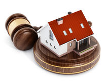 House under a wooden gavel. 3D illustration Royalty Free Stock Photo