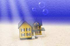 House Underwater. A house underwater sitting in the sand, house underwater Royalty Free Stock Photos