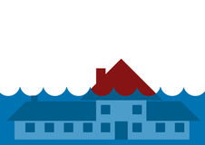 House underwater flood. House underwater from flooding natural disaster Royalty Free Stock Image