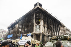 House unions. Burned and destroyed during the break up the protest house unions in Ukraine, Kiev Maidan the revolutionary events on the change of power in the stock photos
