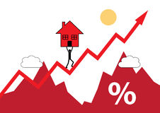 House Up. A house symbol being carried up a rising graph. A metaphor on rising house values and cost Stock Photography