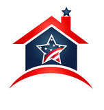 House USA flag logo. House USA flag icon logo illustration vector Royalty Free Stock Photo