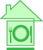House and utensil silhouette Stock Photo