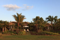 The house of vacational village. A house of vacational village in the afternoon and its garden Stock Photography
