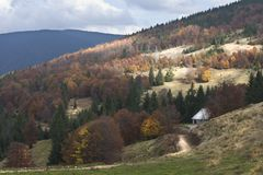 House in the valley. Shot made in Transylvania on a nice day Royalty Free Stock Image