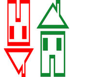 House value  gains and losses. Two illustrated houses. One in red upside down where the roof looks like a downward arrow and the same house upright in green Stock Photos