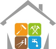 House and Various Tools, House, Janitor, Tools, Logo Stock Photos