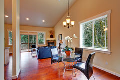 House with vaulted ceiling. Open floor plan Royalty Free Stock Image