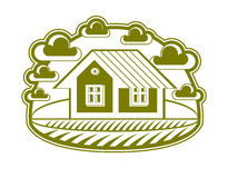 House vector detailed illustration, village idea. Graphic Stock Photos