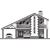 House vector graphics. House or cottage, a carport and a car. Vector graphics Royalty Free Stock Photos