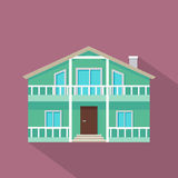 House Vector Icon with Shadow in Flat Design. House vector icon with shadow in flat style. Classic house with porch, attic, balcony and chimney illustration Royalty Free Stock Photo