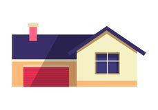 House Vector Illustration in Flat. Country Cottage Royalty Free Stock Image