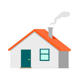 House Vector Illustration in Flat Design. House vector illustration. Flat design. Cottage with red roof and smoke from chimney. Illustration of dwelling for real Royalty Free Stock Photos