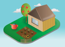 House and garden. Vector illustration - rural house with yard, green grass, apple tree, sunflowers, and garden with plants Stock Photography