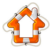 House vector isolated lifebuoy. Vector lifebuoy in the shape of a house symbol Stock Photo