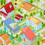 House vector isometric housing architecture or residential home illustration set of housekeeping building exterior or. Cottage construction isolated on royalty free illustration