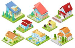 House vector isometric housing architecture or residential home illustration set of housekeeping building exterior or. Cottage construction isolated on white stock illustration