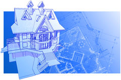 House: vector technical draw Royalty Free Stock Photo
