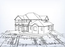 House. Vector technical draw Stock Photo